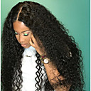 cheap Human Hair Wigs-Human Hair Glueless Lace Front / Lace Front Wig Brazilian Hair Kinky Curly Wig Bob Haircut / Layered Haircut / With Bangs 130% Dark Roots / Natural Hairline / 100% Virgin Women's Long Human Hair Lace