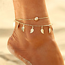 cheap Anklet-Layered Tassel Anklet - Leaf Bohemian, Bikini, Boho Gold / Silver For Gift Evening Party Women's