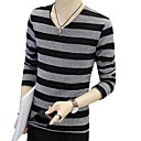 cheap Synthetic Capless Wigs-Men's T-shirt - Striped V Neck