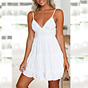 cheap Lip Stain-Women's Holiday Mini A Line Dress - Solid Colored White, Backless / Bow Strap Summer Black Yellow Pink M L XL
