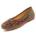 رخيصةأون أحذية فلات نسائية-للمرأة أحذية مطاط ربيع مريح اخفاف كعب مسطخ أمام الحذاء على شكل دائري أحمر / كاكي