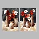 tanie Obrazy: motyw ludzi-Hang-Malowane obraz olejny Ręcznie malowane - Martwa natura Vintage Naciągnięte płótka / Rozciągnięte płótno
