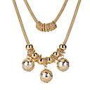 זול שרשרת אופנתית-בגדי ריקוד נשים שרשראות Layered - דמוי פנינה מתוק זהב 56 cm שרשראות תכשיטים עבור Party, ליציאה