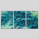 olcso Absztrakt festmények-Nyomtatás Nyújtott vászon - Absztrakt / Virágos / Botanikus Modern Három elem