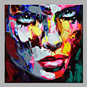 cheap Rolled Canvas Paintings-Oil Painting Hand Painted - Abstract People Modern Rolled Canvas