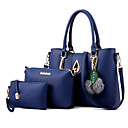 povoljno Komplet torbi-Žene Torbe PU Bag Setovi 3 kom Mašna / Perje / krzno Crn / Dark Blue / Tamno siva