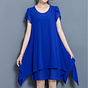 cheap Necklaces-Women's Plus Size Holiday / Going out Street chic / Chinoiserie Loose Shift Dress - Solid Colored Blue