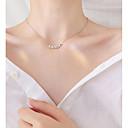 baratos Colares-Gargantilhas - Prata de Lei Formato de Folha Simples, Coreano, Fashion Prata 44.5 cm Colar Para Presente, Diário