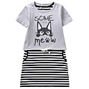 cheap Girls' Clothing Sets-Kids Girls' Striped Short Sleeve Clothing Set / Cute