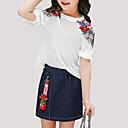 tanie Sukienki dla dziewczynek-Dzieci Dla dziewczynek Aktywny Codzienny Kwiaty Krótki rękaw Regularny Poliester Komplet odzieży Biały 140