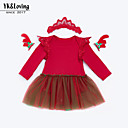 cheap Baby Girls' Clothing Sets-baby girl's daily solid colored dress, cotton polyester spring fall cute long sleeves blushing pink red 73 66 59 80
