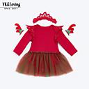 ieftine Rochii Bebeluși-fetița rochie roșie zilnică de fete de copii, bumbac de bumbac din poliester toamna drăguț mâneci lungi roșu roșu roz 73 66 59 80