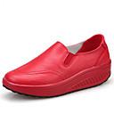 tanie Męskie obuwie sportowe-Damskie PU Wiosna / Jesień Wygoda Mokasyny i buty wsuwane Obcas wedge Okrągły Toe Biały / Czarny / Czerwony