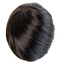 cheap Toupees-Men's Remy Human Hair Toupees Hair Replacement Systems Mono Lace And Pu Poly Around Natural Color Hair Toupee Mens Hair Piece Full Lace 100% Hand Tied