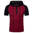cheap Men's Bracelets-Men's Active Cotton T-shirt - Color Block Hooded / Short Sleeve