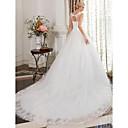 olcso Természetes színű póthajak-Báli ruha Scoop nyak Katedrális uszály Szatén / Csipke tüllön Made-to-measure esküvői ruhák val vel Gyöngydíszítés / Csipke által LAN