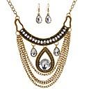 tanie Zestawy biżuterii-Damskie Biżuteria Ustaw - Kropla Duże, Vintage Zawierać Kolczyki drop Naszyjniki z wisiorkami Złoty Na Codzienny Party Wieczór