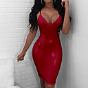 cheap Human Hair Capless Wigs-Women's Party Club Basic Slim Bodycon Dress - Solid Colored V Neck Spring Black Red Beige M L XL / Sexy
