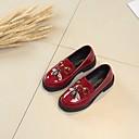 זול נעלי ילדות-בנות נעליים PU אביב נעליים לילדת הפרחים נעליים ללא שרוכים ל בגדי ריקוד ילדים שחור / בז' / אדום