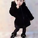 זול סטים של ביגוד לבנות-ז'קט ומעיל דמוי פרווה חורף סתיו שרוול ארוך יומי ליציאה אחיד יוניסקס חמוד פעיל שחור