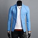 זול בלוקים מגנטיים-פשתן בגדי ריקוד גברים ירוק כחול כחול בהיר בלייזר פשוט / יום יומי אחיד דש קלאסי / שרוול ארוך / אביב / סתיו / עבודה