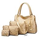 Χαμηλού Κόστους Σετ τσάντες-Γυναικεία Τσάντες PU δέρμα Σετ τσάντα 4 σετ Σετ τσαντών Καρφιά / Φερμουάρ Γεωμετρικό Χρυσό / Λευκό / Μαύρο