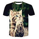 cheap Women's Flats-Men's T-shirt - Animal Round Neck / Short Sleeve