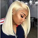 tanie Lalki Reborn-Włosy naturalne remy Siateczka z przodu Peruka Fryzura Bob Kardashian styl Włosy brazylijskie Prosta Blond Różowy Peruka 130% Gęstość włosów z Baby Hair Naturalna linia włosów Bielone Węzły Blond