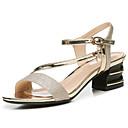 preiswerte Damen Sandalen-Damen Schuhe Künstliche Mikrofaser Polyurethan Sommer / Herbst Gladiator / Pumps Sandalen Blockabsatz Gold / Schwarz / Party & Festivität