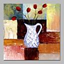 baratos Pinturas Abstratas-Pintura a Óleo Pintados à mão - Vida Imóvel Floral / Botânico Vintage Tela de pintura