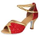 رخيصةأون أحذية لاتيني-للمرأة أحذية رقص بريّق / براق / جلد كعب ترتر / مشبك كعب كوبي مخصص أحذية الرقص أحمر