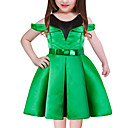 cheap Girls' Dresses-Girl's Going out Holiday Patchwork Dress, Polyester Short Sleeves Cute Princess Blue Green Red
