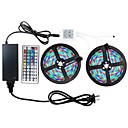 hesapli LED Spot Işıkları-ZDM® 2x5M RGB Şerit Işıklar 600 LED'ler 2835 SMD 1 44Keys Uzaktan Kumanda / 1 AC Kablosu / 1 x 12 V 3A Adaptörü RGB Su Geçirmez / Kesilebilir / Dekorotif 12 V 1set