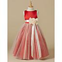 hesapli Parti Başlıkları-A-Şekilli Taşlı Yaka Diz Altı Saten / Tül Kurdeleler / Çiçekli ile Çiçekçi Kız Elbisesi tarafından LAN TING BRIDE®