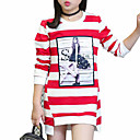 cheap Girls' Tops-Girls' Daily Striped Tee, Cotton Spring Fall Long Sleeves Stripes Black Purple Red