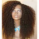 tanie Peruki z włosów ludzkich-Włosy naturalne remy Siateczka z przodu Peruka Włosy brazylijskie Curly Czarny Peruka Fryzura cieniowana 130% Gęstość włosów z Baby Hair Peruka afroamerykańska Dla czarnoskórych kobiet Czarny Damskie
