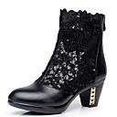 זול מגפי נשים-בגדי ריקוד נשים נעליים עור אביב / סתיו מגפיים אופנתיים מגפיים עקב עבה מגפונים\מגף קרסול שחור
