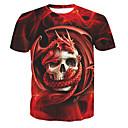 baratos Mochilas-Homens Camiseta Básico Estampado, Caveiras Algodão Decote Redondo / Manga Curta