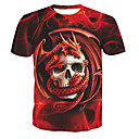 cheap Night Lights-Men's Basic Cotton T-shirt - Skull Print Round Neck / Short Sleeve