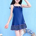 זול שמלות לבנות-בנות אחיד מנוקד בגדי ים, פוליאסטר כחול נייבי