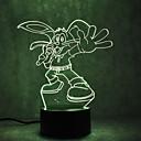 זול תאורה מודרנית-1set Rabbit אור תלת ממדי שנה USB גע בחיישן עם יציאת USB החלפת צבעים