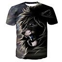 baratos Luz LED Ambiente-Homens Camiseta Básico Estampado, Animal Algodão Decote Redondo Leão / Manga Curta