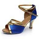 זול נעליים לטיניות-בגדי ריקוד נשים נעליים לטיניות סטן / דמוי עור סנדלים / עקבים שחבור עקב מותאם מותאם אישית נעלי ריקוד כחול / בבית