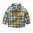זול ג'קטים ומעילים לבנים-בנים פעיל כותנה מכנסיים - משובץ דפוס צהוב / פעוטות