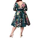 olcso Női magassarkú cipők-Női Extra méret Alkalmi Vintage A-vonalú Ruha - Nyomtatott, Virágos Térdig érő / Nyár