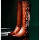 זול מוקסינים לנשים-בגדי ריקוד נשים נעליים עור סתיו / חורף מגפי רכיבה מגפיים עקב עבה מגפיים עד הברך שחור / חום