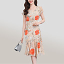 cheap Party Gloves-Women's Going out Street chic / Sophisticated Slim Sheath Dress - Floral Print / Summer