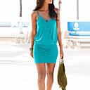 hesapli Moda Kolyeler-Kadın's Kulüp / Kumsal Sokak Şıklığı İnce Kılıf Elbise - Solid, Arkasız V Yaka Mini Yüksek Bel Mavi / Yaz