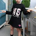 povoljno Haljine za djevojčice-Djeca Djevojčice Patterned Jednobojni Dugih rukava Pamuk / Umjetna svila / Poliester Haljina Crn 140