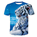 cheap Men's Boots-Men's Active T-shirt - Animal Tiger, Print Round Neck / Short Sleeve